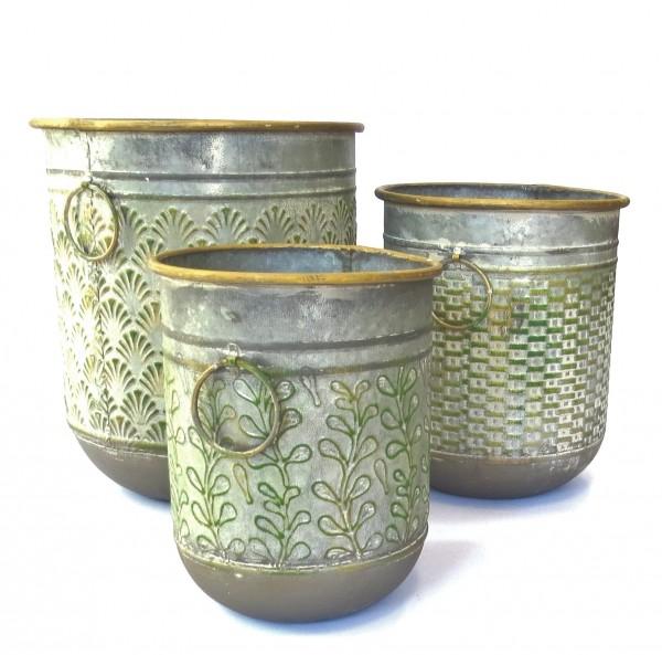 Deko Übertopf Trog Vase Antik Metall 3er Set Garten Blumen
