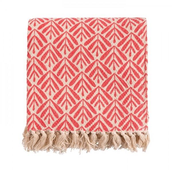 Decke Wohn Überwurf Sommer Beige Rot Baumwolle Franzen Linen & More