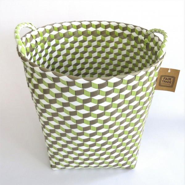 Korb Wäschekorb Dekokorb mit Henkel Grün Weiß Hippie Fair Trade 36 x 36 cm