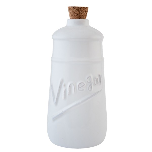 Clayre & Eef Essigflasche Keramik Vinegar weiß 9*9*17,5 cm 0,6 L Keramik