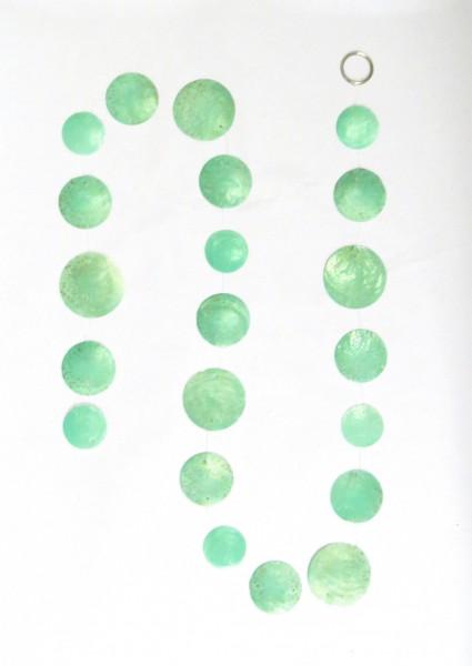 Girlande Muschel Windspiel Hänger Grün 180 cm Modern Sommer Deko