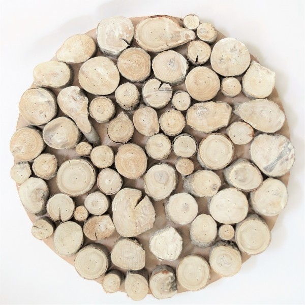 Untersetzer Holz Tablett Deko Platte rund 45 cm Countryfield