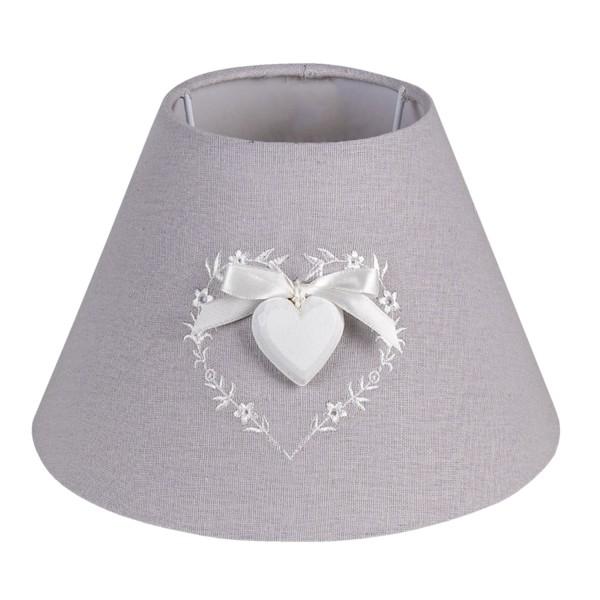 Lampenschirm Tisch Landhaus Grau Herz Weiß Clayre & Eef Romantik Stickerei