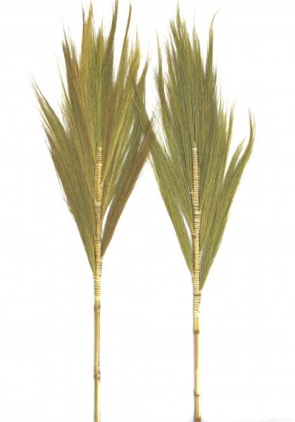 Deko Wand Strohgras Wedel 2er Set Blume Natur Tropisch Sommer 100 cm Bambus