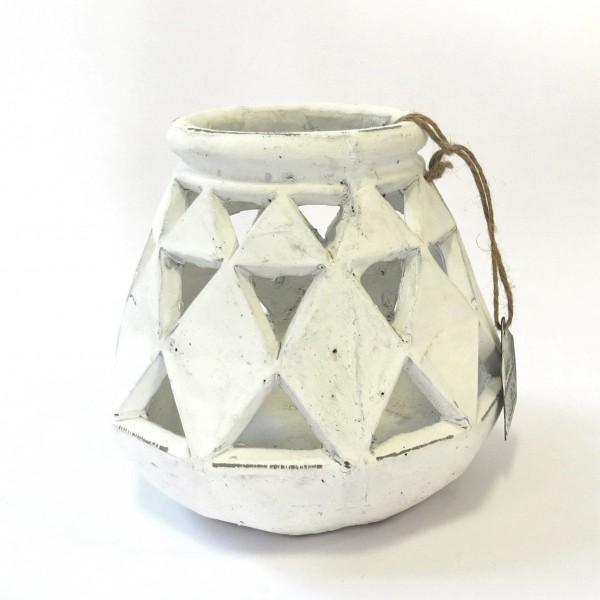 Teelichthalter Shabby Weiß Antik Stil Countryfield 17x17 cm