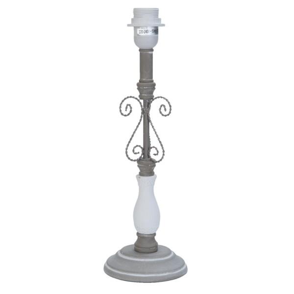 Clayre & Eef Lampenfuß aus Holz in weiß und grau 13 x 13 x 39 cm 6LMP361
