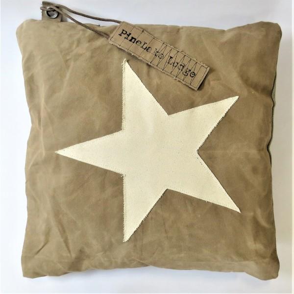 Pinlelake LODGE Kissen Dekokissen beige Stern Reißverschluss 50 x 50 cm