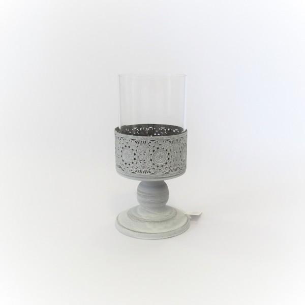 Windlicht Teelicht Kerzenständer mit Glaseinsatz Metall Shabby Antik 20 cm