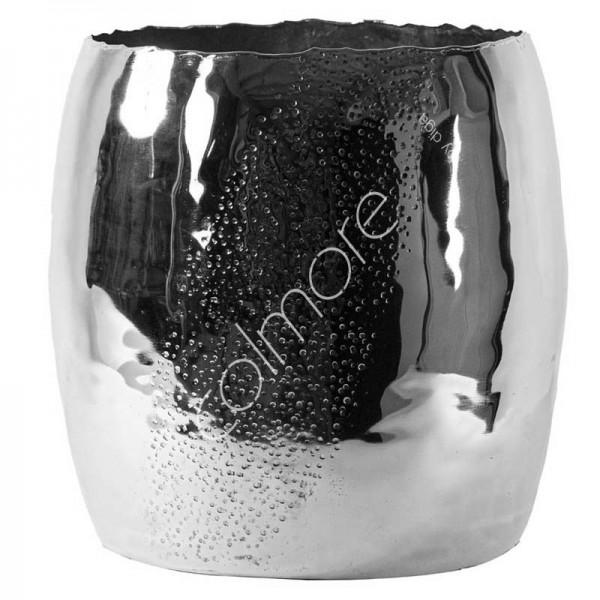 Vase Deko Silber Metall Modern Gehämmert Colmore 24 cm