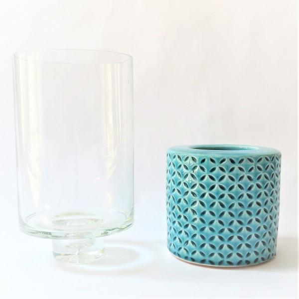 Windlichthalter Teelicht Kerzenständer Vase Glas Keramik Modern 29,5 x 12 cm