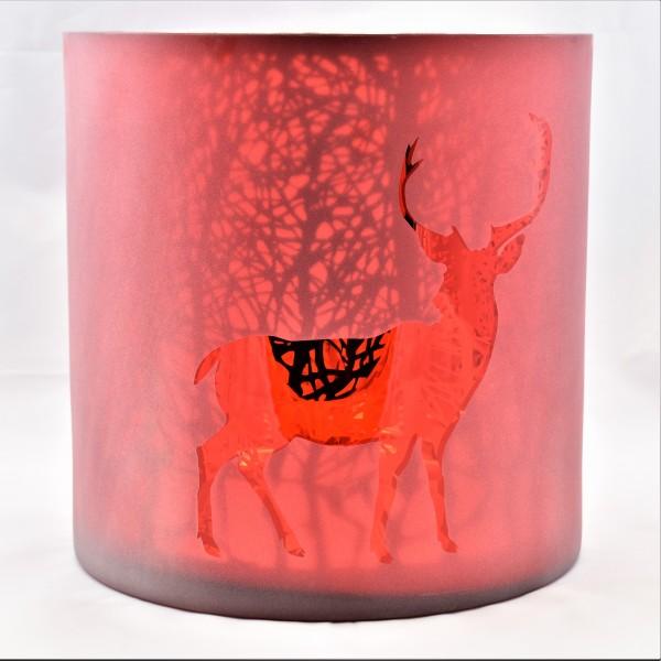 Windlicht Teelicht Kerzenständer Weihnachten Glas Rot mit Hirsch 24,5 x 18 cm