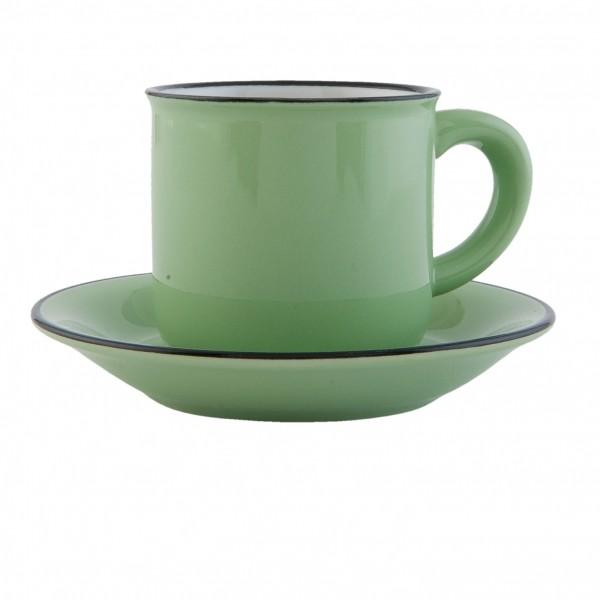 Espressotasse Clayre & Eef Tasse mit Untertasse grün Keramik 7 x 7 cm ELKSGR
