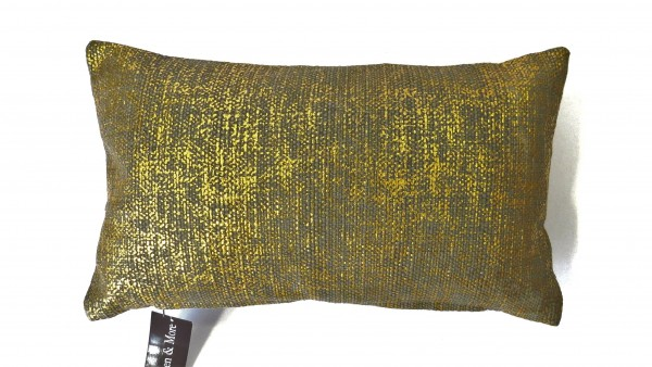 Kissen Dekokissen Zierkissen Sofa Gold Grau 30 x 50 cm Linen & More Baumwolle