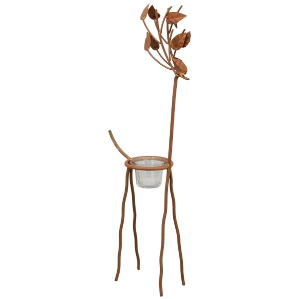 Teelichthalter Hirsch Metall Figur Rost Gestell mit Glaseinsatz 55 cm Weihnachten Exner GmbH