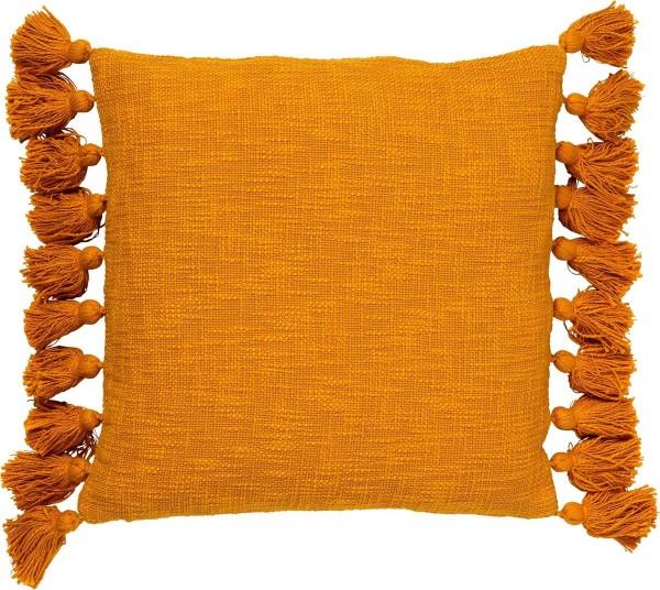 Kissen Deko Sofa Zier Pompons Ocker Golden Glow 45 x45 cm