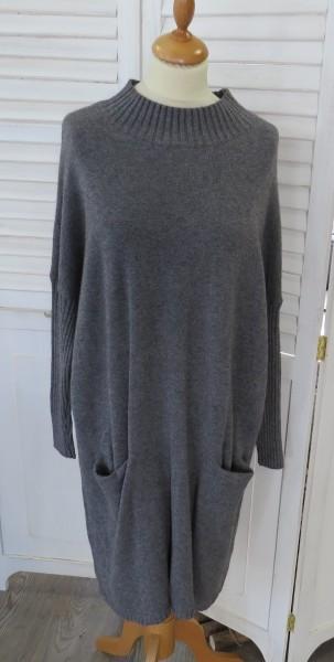 Kleid Strickkleid Long Pullover grau Taschen L / XL Kaschmir Modal