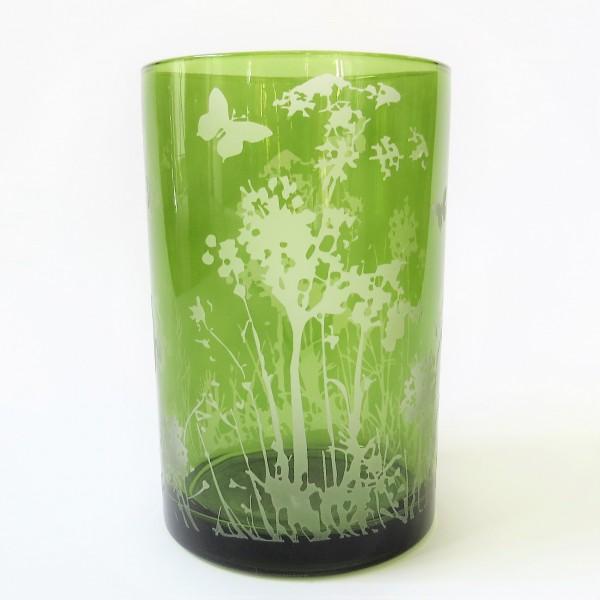 Cor Mulder Windlicht Teelicht Garden Glas grün 12,5 cm Blumen Schmetterling