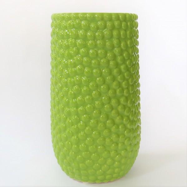 Vase Tisch Deko Grün Punkte Keramik 25 cm