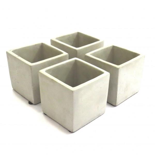 Übertopf Beton Quadratisch 4er Set 9x9 cm Grau Modern Blumen Tisch Deko