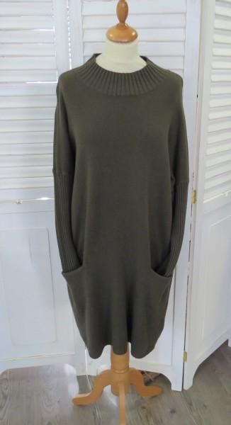 Kleid Strickkleid Long Pullover grün Taschen L / XL Kaschmir Modal