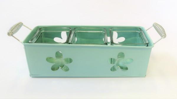 Übertopf Blechgefäß Pflanzengefäß Vase Blumentopf Blumendeko Blech Glas 30 cm