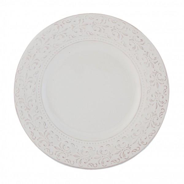 Teller Kuchenteller weiß Ornament Landhaus 21 x 2 cm Keramik TCLDP Clayre & Eef