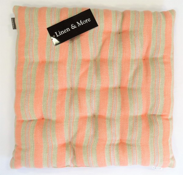 Sitzkissen orange gestreift 40x40x5cm Baumwolle New Linen Coral Haze Linen & More