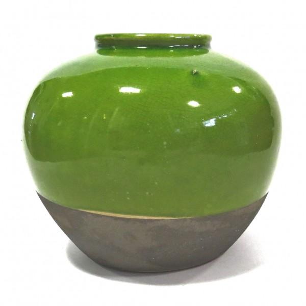 Deko Vase Tisch Grün Rund Modern Frühling 20 x 23 cm Ton