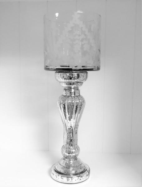 Kerzenständer Windlicht Teelichtständer Glas silber Shabby 44 cm