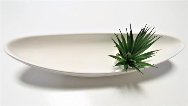 Schale schmal lang weiß Keramik 36 cm
