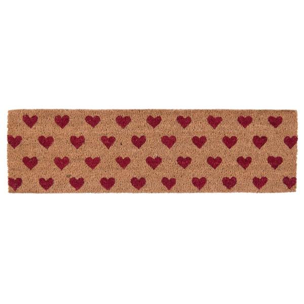 Fußmatte Tür Matte Abstreifer Eingang Schmal Lang Herz Rot Clayre & Eef Romantisch