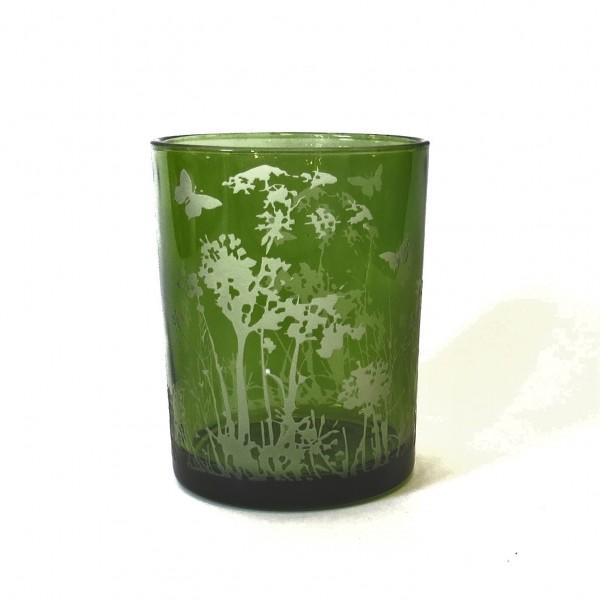 Windlicht Teelichthalter Grün Frühling Modern Blumen Schmetterling Motiv Glas 18 cm