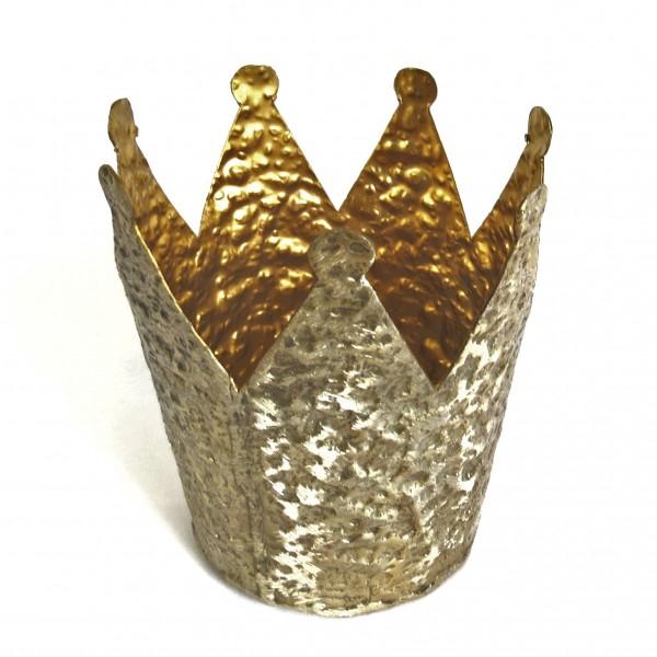 Deko Krone Teelichthalter Kerzenständer Gold Gehämmerte Optik