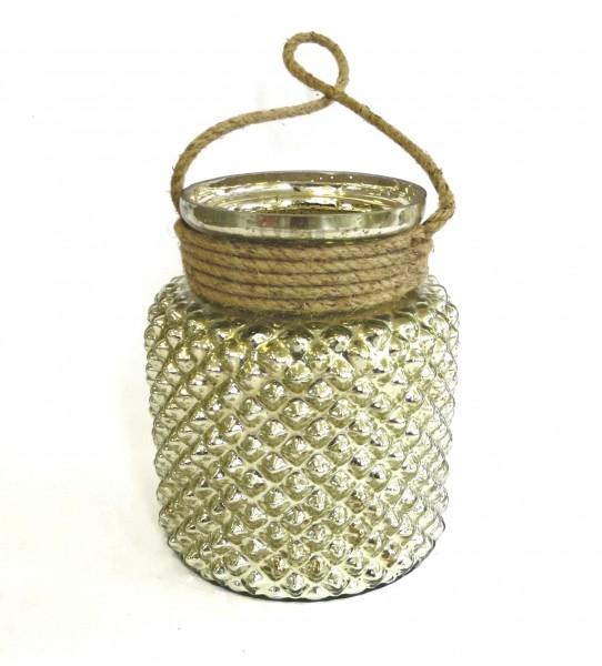 Windlicht Glas Hänger Gold Silber Teelichthalter Hängewindlicht Antik 23x 19 cm
