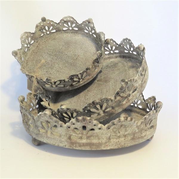 Krone Tablett 3er Set Untersetzer Kerzen Shabby Metall Antik Rund Handmade ArtFerro
