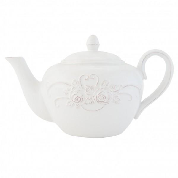 Clayre & Eef Kanne Teekanne Kaffeekanne Keramik weiß 24x14x15 cm TCRTE