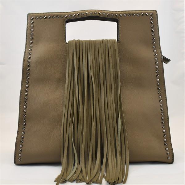Tasche Handtasche Damentasche khaki Franzen Trageriemen Reißverschluss 34 x 34 cm