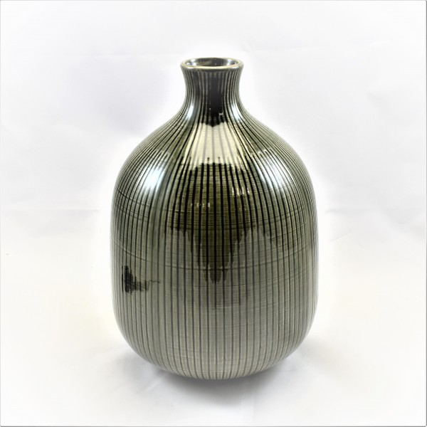 Vase Flasche Deko grün Porzellan afrikanisch geriffelt 27 cm