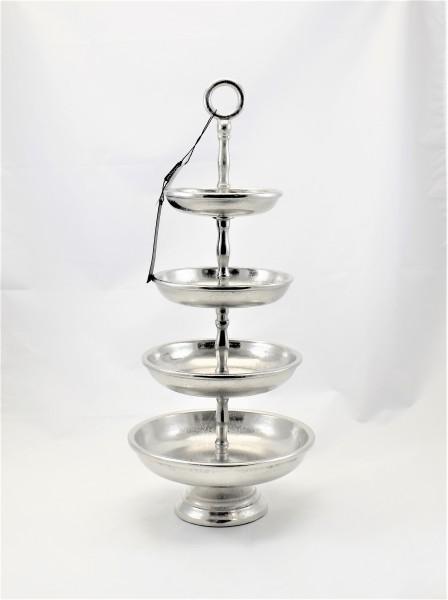 Etagere Servierplatte Buffet Silber Colmore 4Stöckig 22 x 50 cm