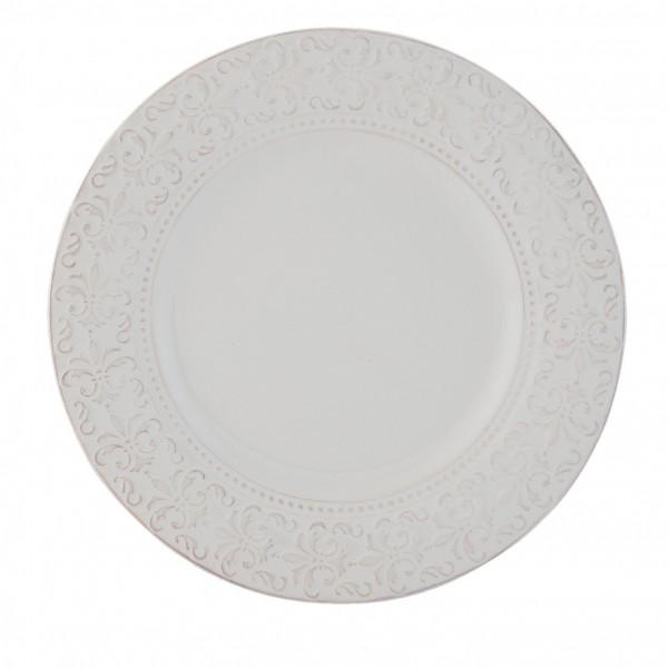 Teller Speiseteller Landhaus Ornament rund Weiß Clayre & Eef 25 x 2 cm Keramik TCLFP