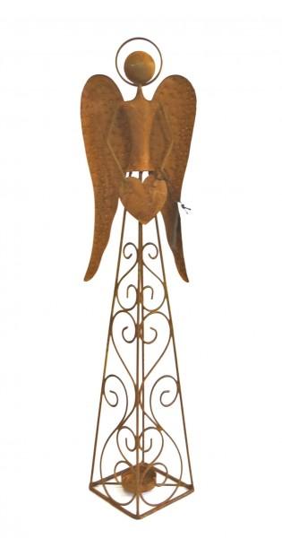 Teelichthalter Engel Herz Deko Metall Rost Weihnachten 50 cm Kerzenständer Handmade