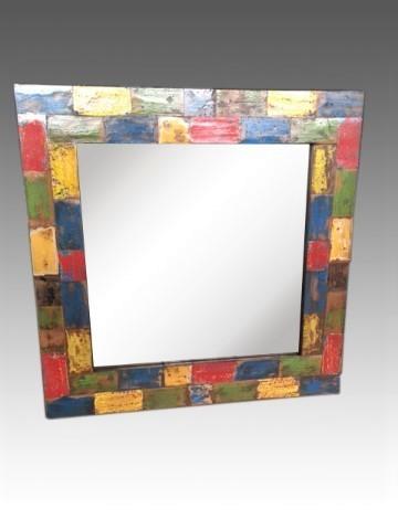 Spiegel Wand Retro Vintage Mehrfarbig Shabby 60x60x5 cm Recycling Holz