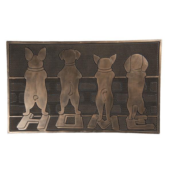 Fußmatte Kunststoff Modern Clayre & Eef Hunde Schwarz Bronze Gold