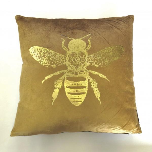 Kissen Zierkissen Sofakissen Biene Gold Schwarz Samt Dekokissen Colmore 45 x 45 cm