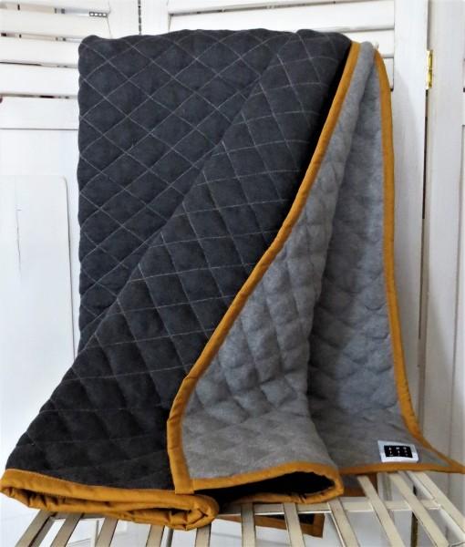 Decke Wendedecke Tagesdecke grau orange Oker 130 x 170 cm Baumwolle