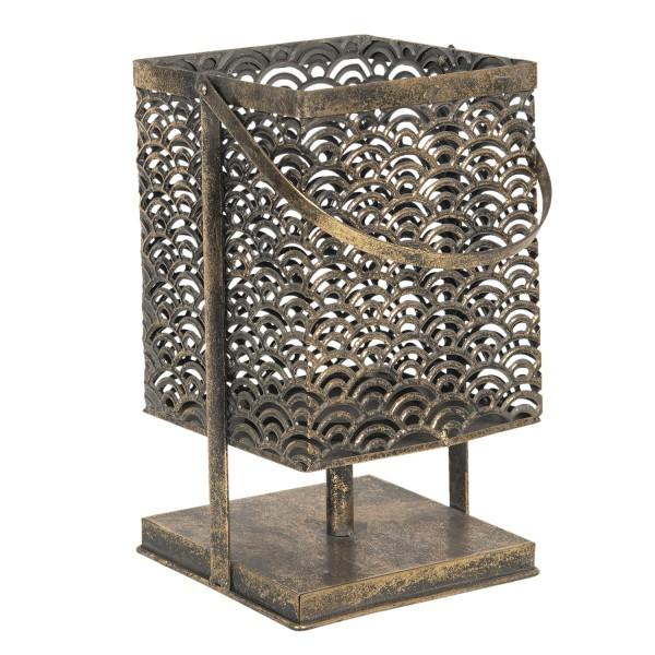 Laterne Windlicht Kerzenhalter Teelicht Metall Gold Antik Stil Orientalisch 17x17x35 cm