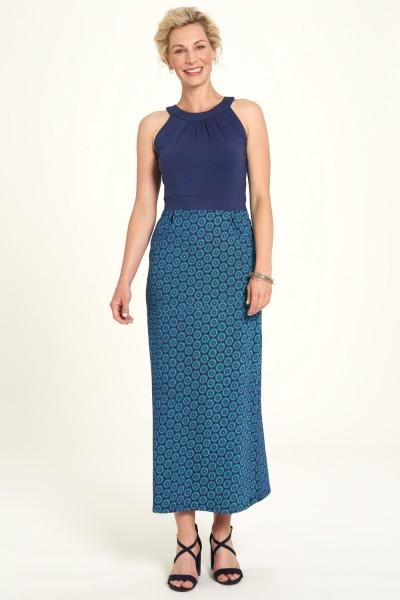 Sommer Kleid Blau Maxi Flower Print Hippie Neckholder Bio Baumwolle Tranquillo XS 34