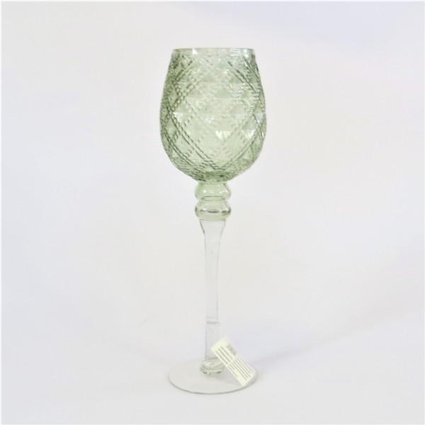 Glaskelch Deko Glas Windlicht Grün Wabenoptik Kunstgewerbe Gehlmann 40 cm