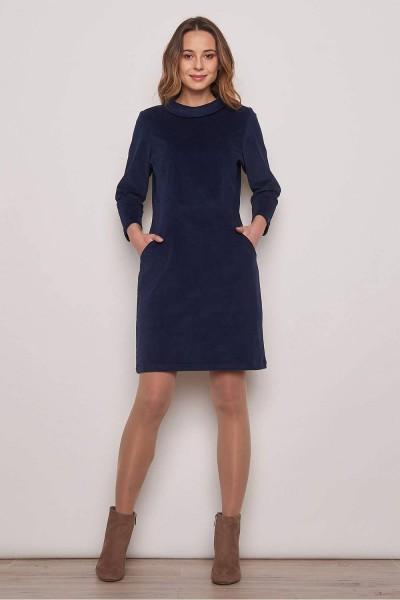 Kleid Cord Blau Midi Stiefelkleid Bio Baumwolle Tranquillo Größe 38 M