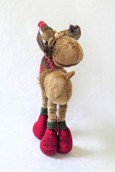 Weihnachtsdeko Elch Rentier Dekofigur Standfigur Weihnachten Stoff Metall 65 cm